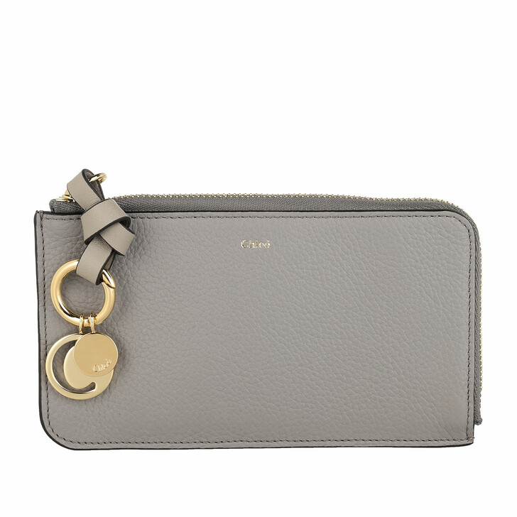 Geldbörse, Chloé, Alphabet Card Holder Cashmere Grey