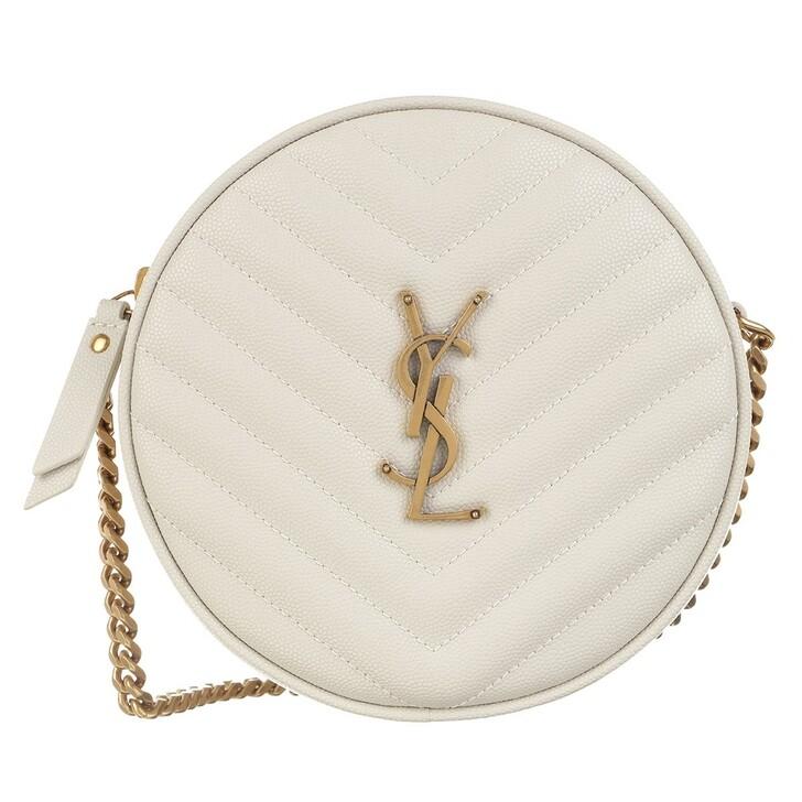 Handtasche, Saint Laurent, Vinyle Round Camera Bag Leather Crema Soft