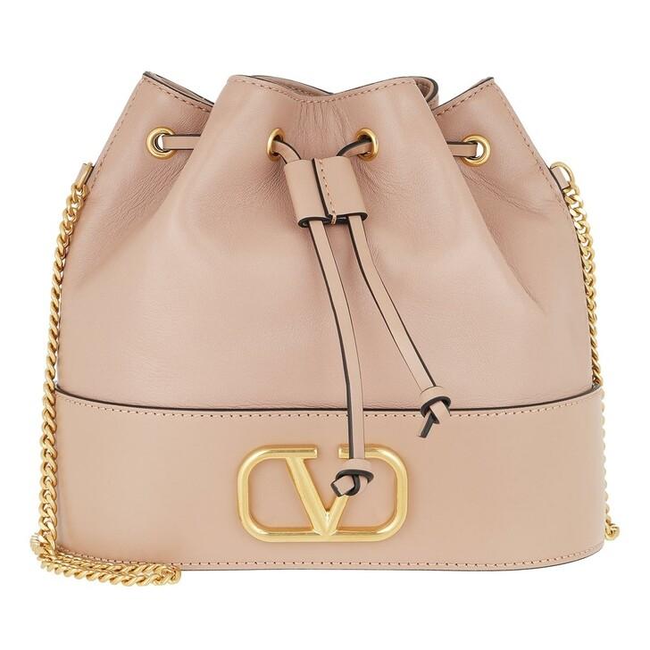 bags, Valentino Garavani, V Logo Bucket Bag Leather Rose