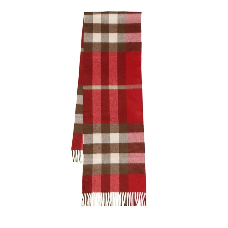 scarves, Burberry, Multi Check Scarf Bright Red