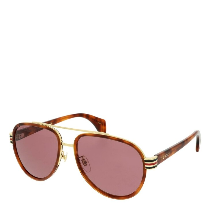 Sonnenbrille, Gucci, GG0447S-006 58 Sunglasses Havana-Havana-Red