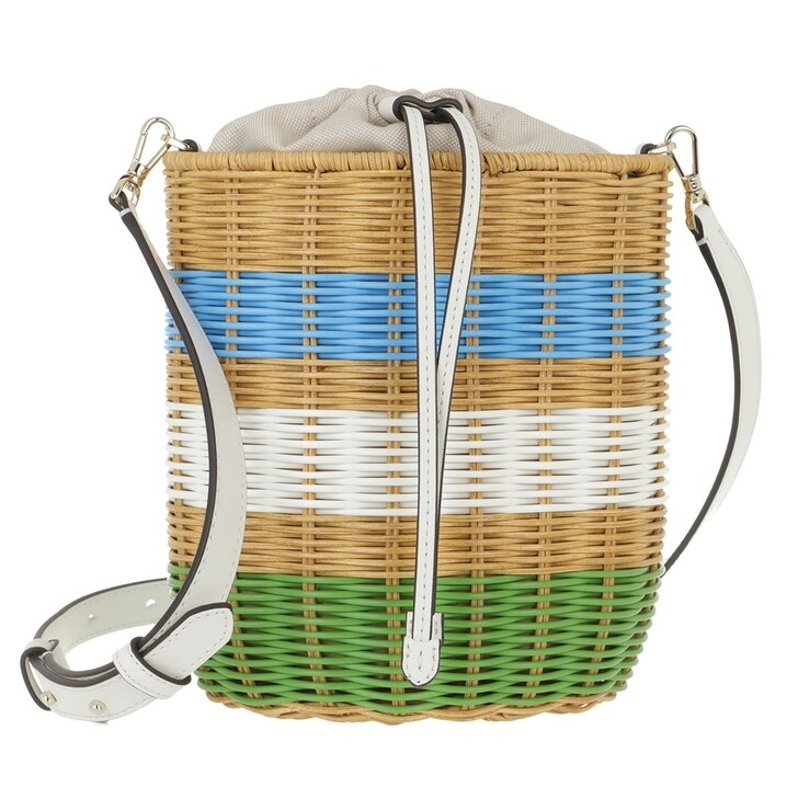 Handtasche, Kate Spade New York, Buoy Wicker Medium Bucket Bag   Green Multi
