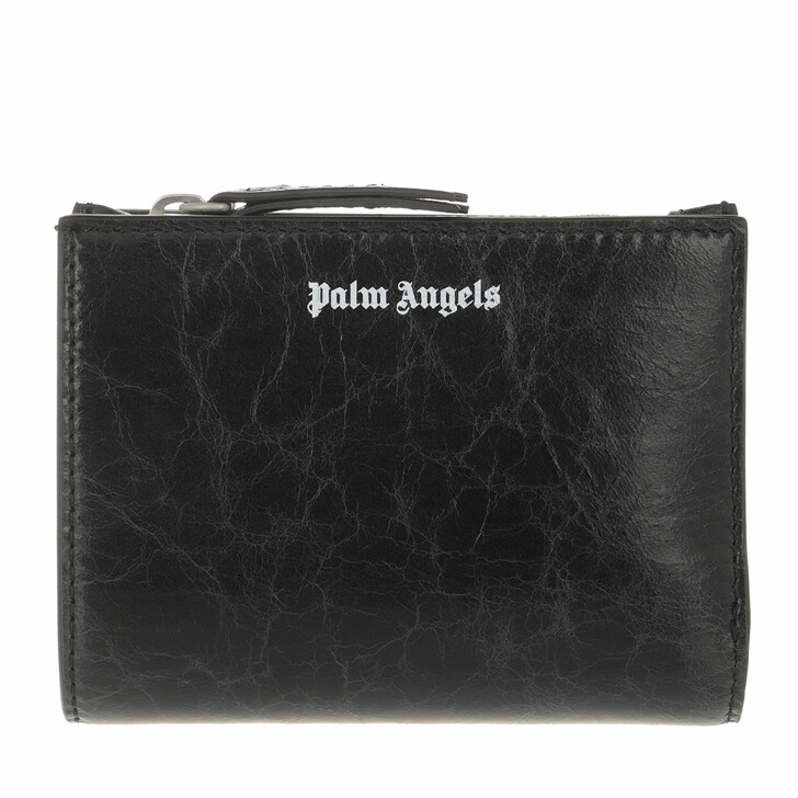 wallets, Palm Angels, Crinkle Leather Zip Wallet Black White Black White