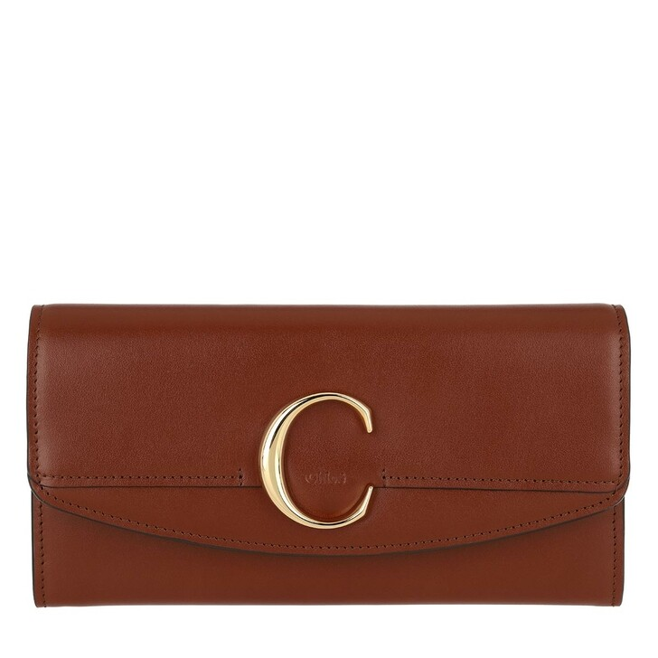 wallets, Chloé, C Continental Wallet Leather Sepia Brown