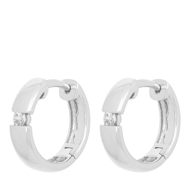 earrings, VOLARE, Earring Hoops 2 Brill ca. 0,15 White Gold