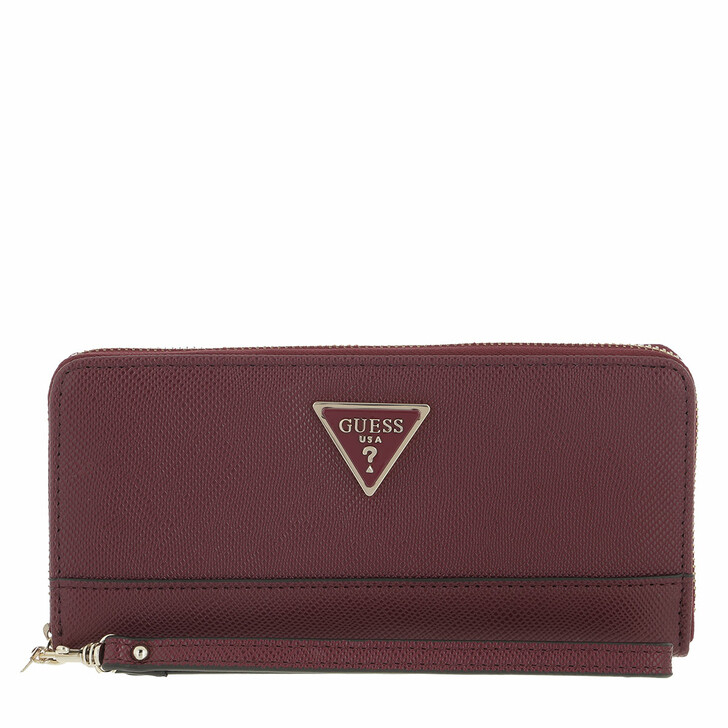 wallets, Guess, Noelle Slg Large Zip Around Burgundy