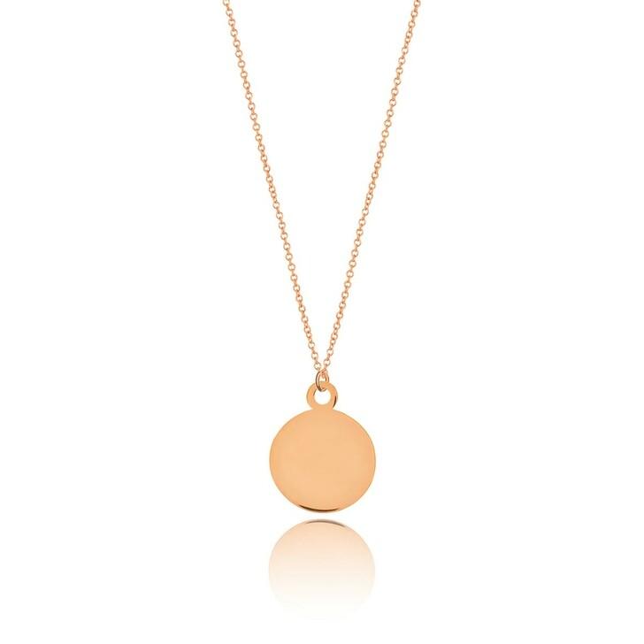 Kette, Leaf, Necklace Plate 14k Rose Gold