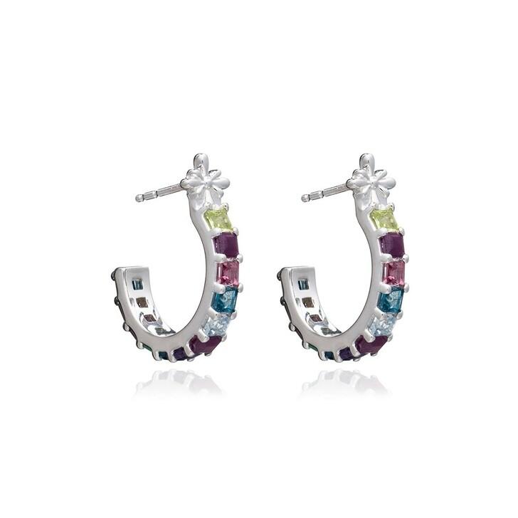 Ohrring, Rachel Jackson London, Statement Gemstone Hoop Earrings Silver