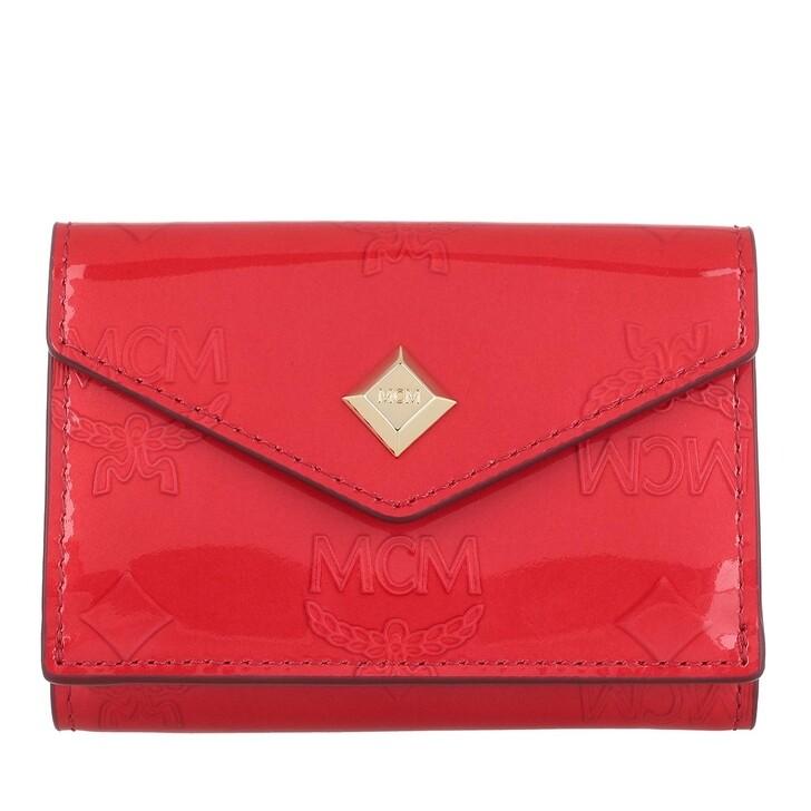 Geldbörse, MCM, Metallic Patent New Mini Card Wal Red