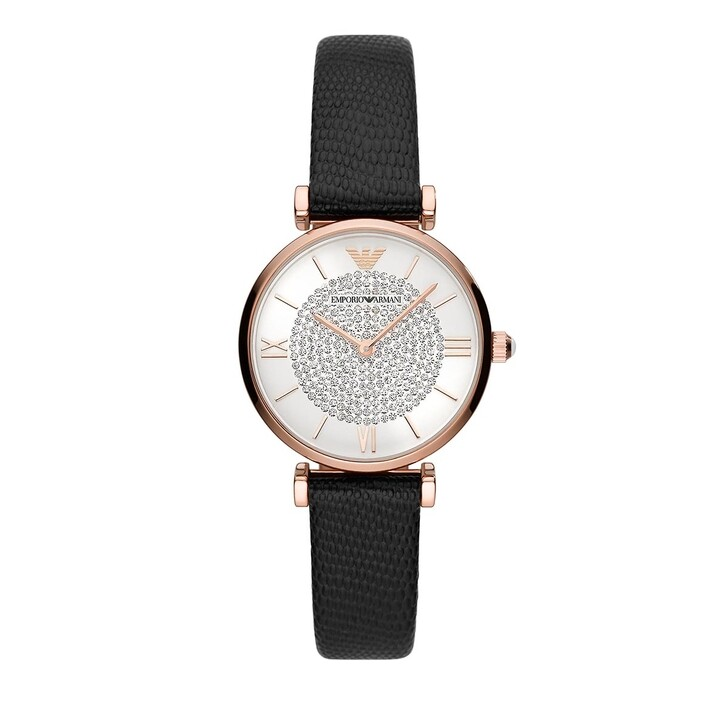 Uhr, Emporio Armani, Two-Hand Leather Watch Black/Rosegold
