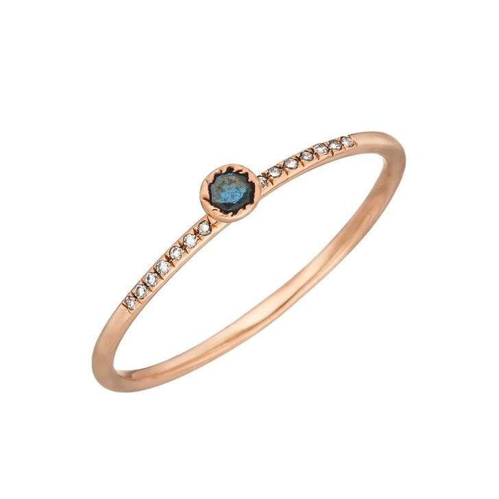 Ring, Leaf, Ring Petite Blue Diamond Roségold