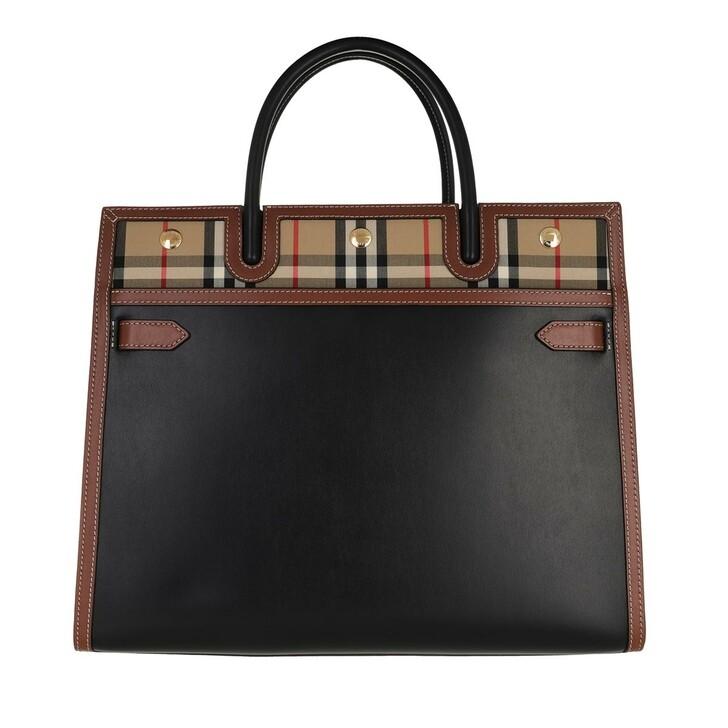 Handtasche, Burberry, Medium Title Shoulder Bag Leather Black