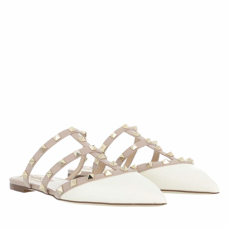 shoes, Valentino Garavani, Rockstud Flat Leather Mules Light Ivory