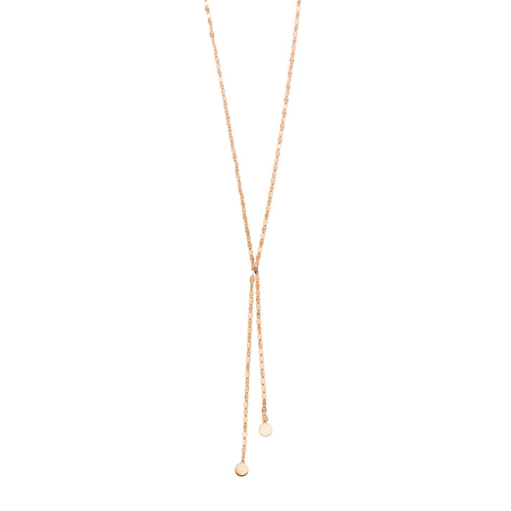 Kette, Leaf, Y-Necklace Shiny Silver Rose Gold-Plated