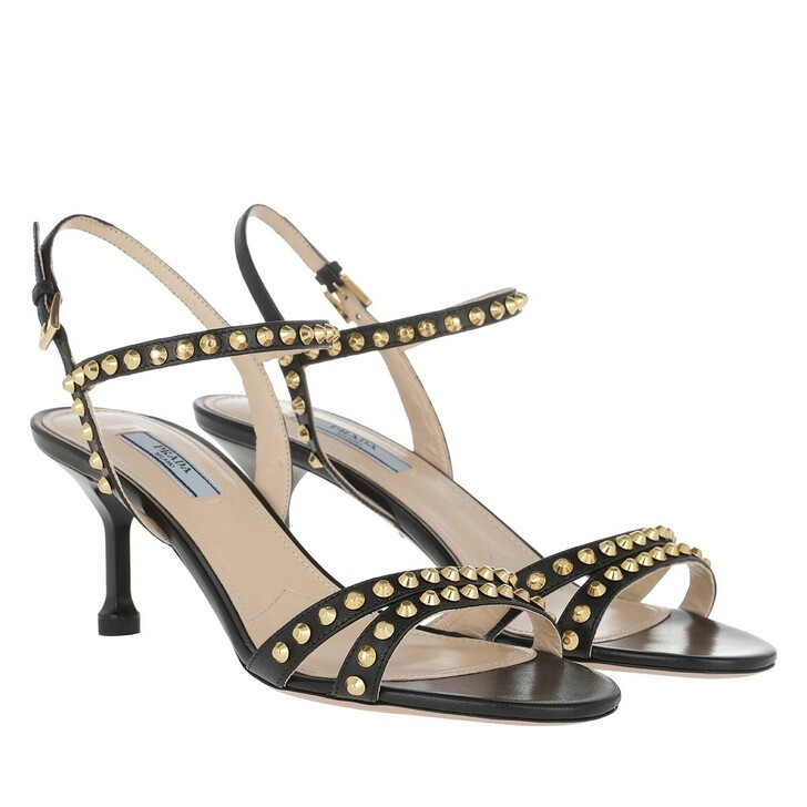 shoes, Prada, Borchie Sandal Leather Black