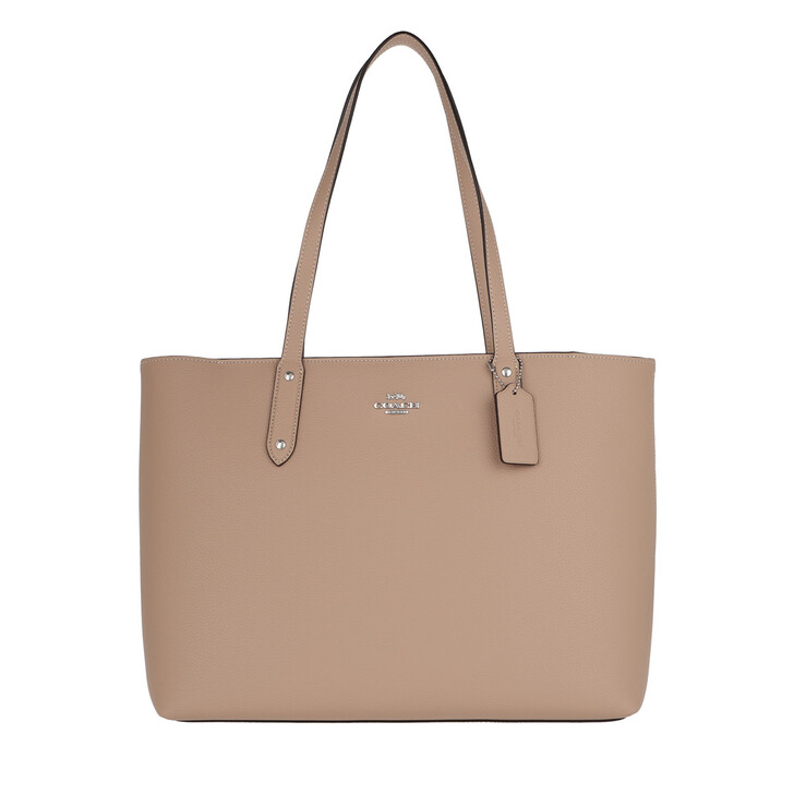 bags, Coach, Polished Pebble Leather Central Tote Zip Taupe