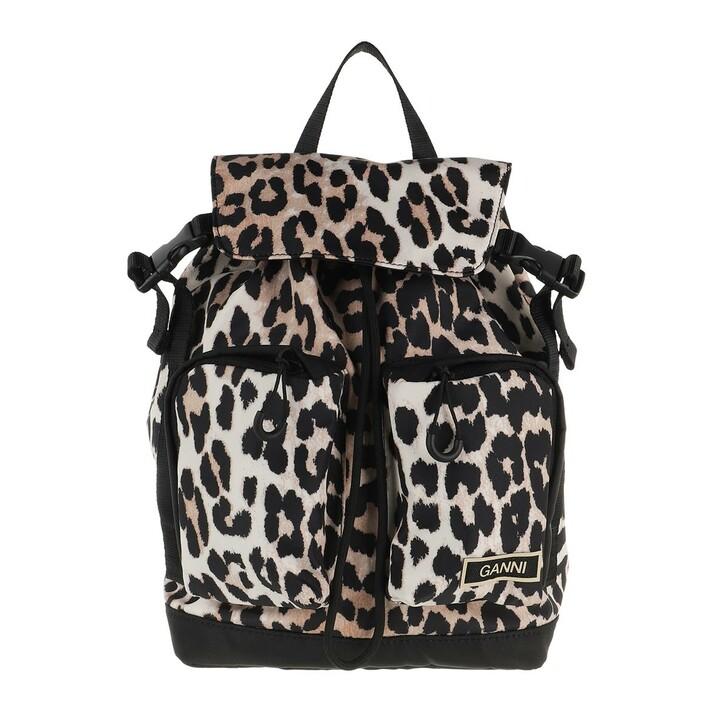 Reisetasche, GANNI, Small Backpack Leopard