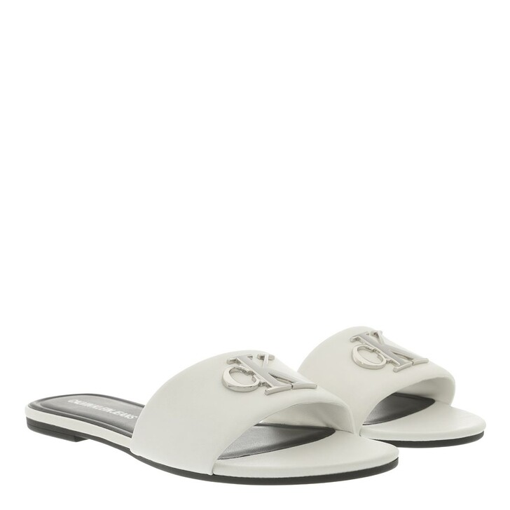 Schuh, Calvin Klein, Flat Slide Sandals Leather White