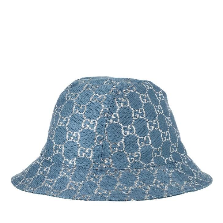 hats, Gucci, GG Lamé Bucket Hat Turquoise Blue