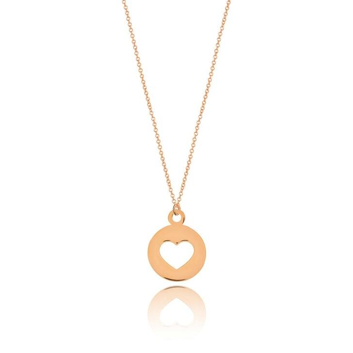 Kette, Leaf, Necklace Heart Rose Gold