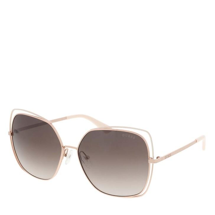 Sonnenbrille, Guess, Women Sunglasses Metal GU7638 Gold/Brown