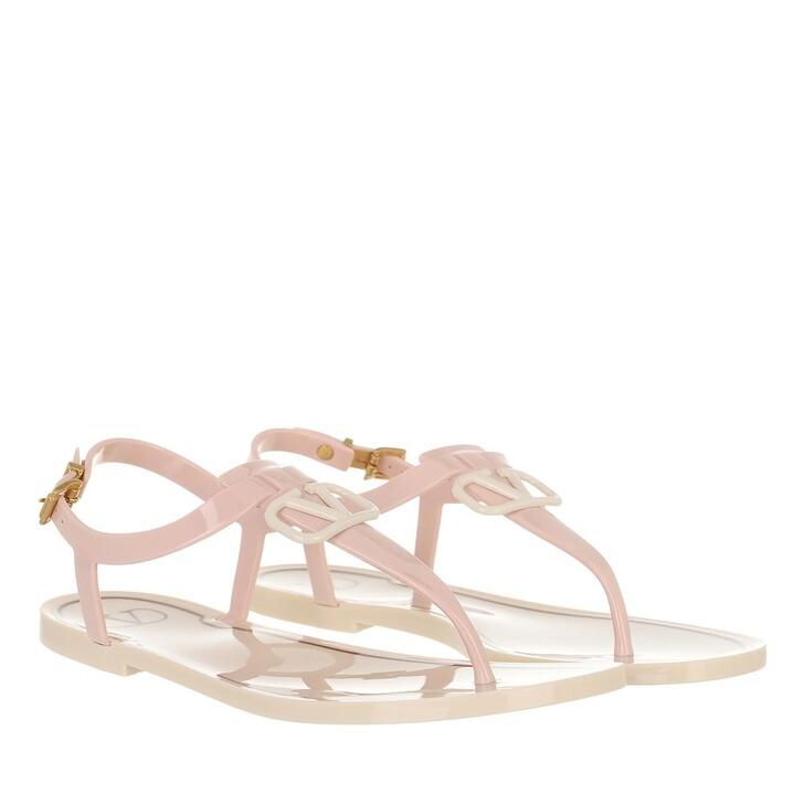 shoes, Valentino Garavani, V Logo Signature Flat Sandal Rubber Rose