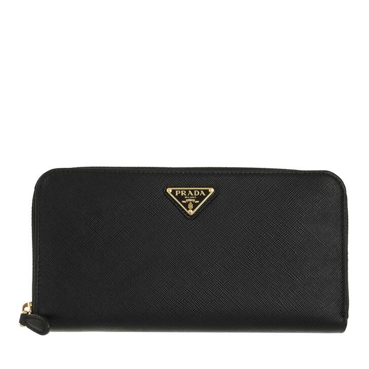 wallets, Prada, Classic Zip Wallet Saffiano Logo Triangolo Nero