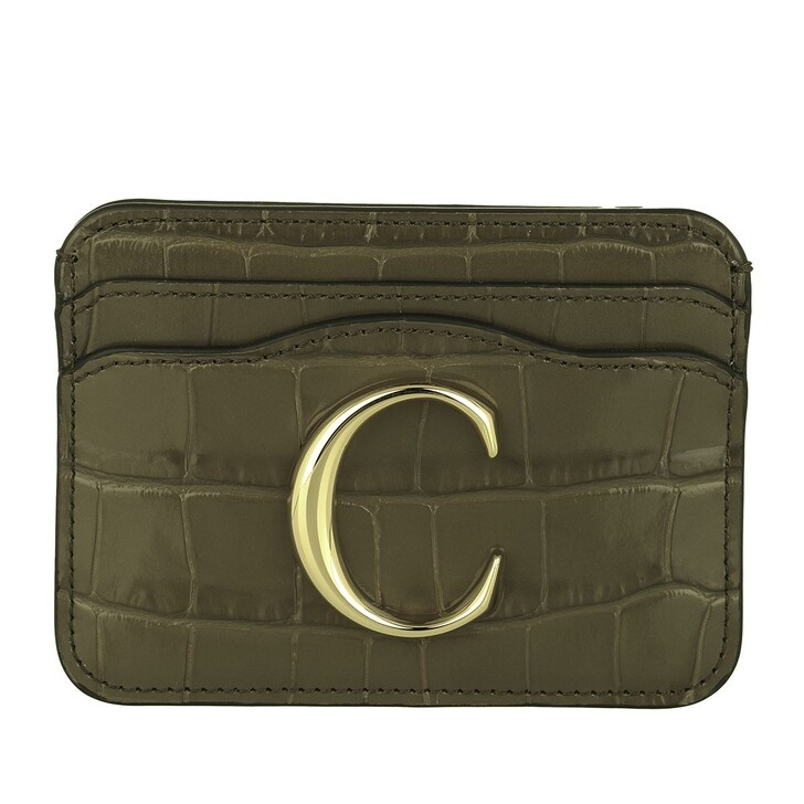 wallets, Chloé, Branded Card Case Leather Army Green