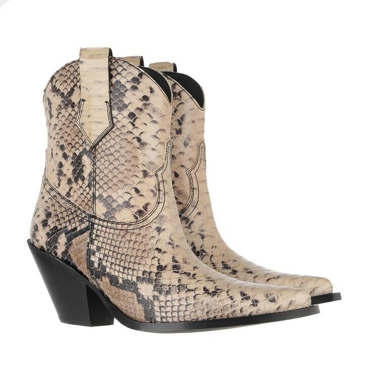 Schuh, Toral, Cowboy Ankle Boots Pyton Beige
