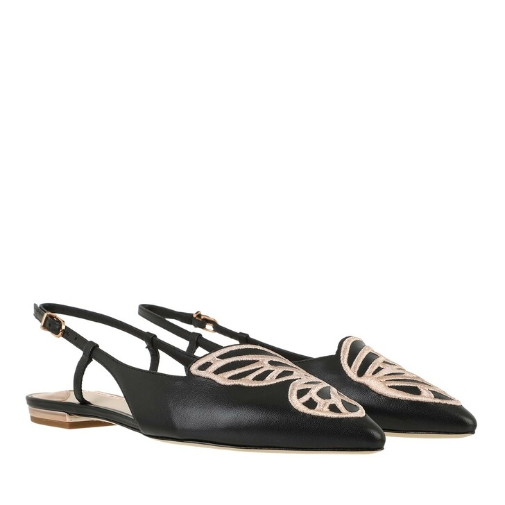 Schuh, Sophia Webster, Butterfly Embroidery Slingback Black Nappa Rose Gold