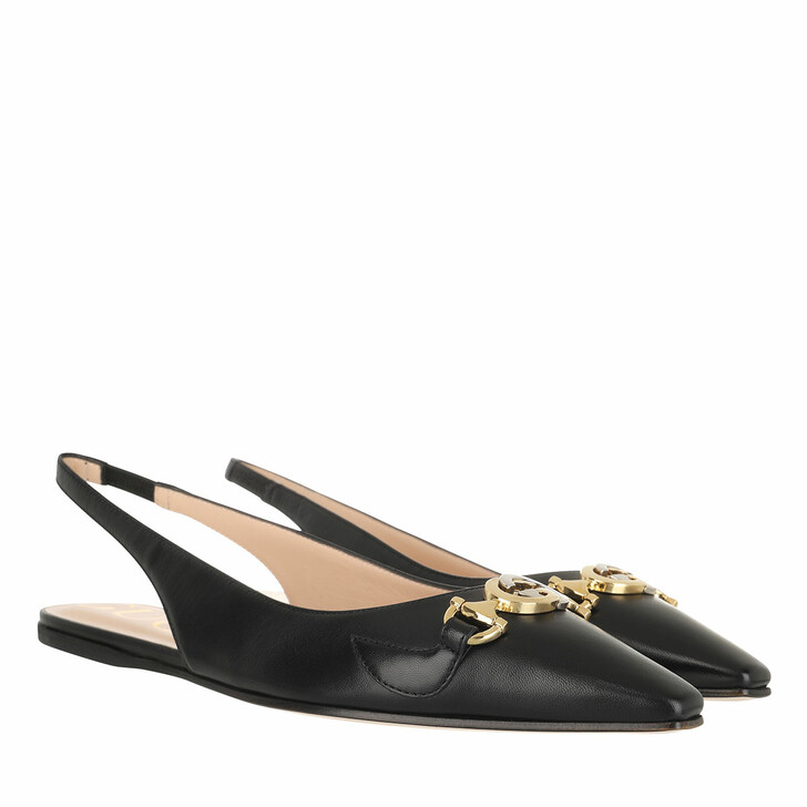 shoes, Gucci, Low Slingback Strap Pumps Leather Black