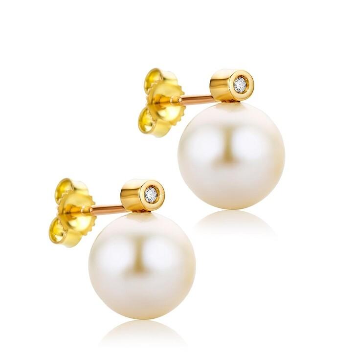 Ohrring, DIAMADA, 0.02ct Diamond Freshwater Pearls Earring  18KT Yellow Gold