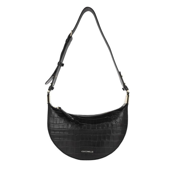 Handtasche, Coccinelle, Anais Croco Shiny Soft Noir