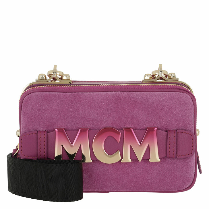 Handtasche, MCM, Cubism Suede Crossbody Bag Mini Viva Lila