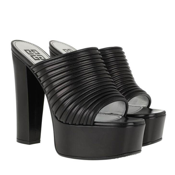 Schuh, Givenchy, Platform Mules Pleated Leather Black