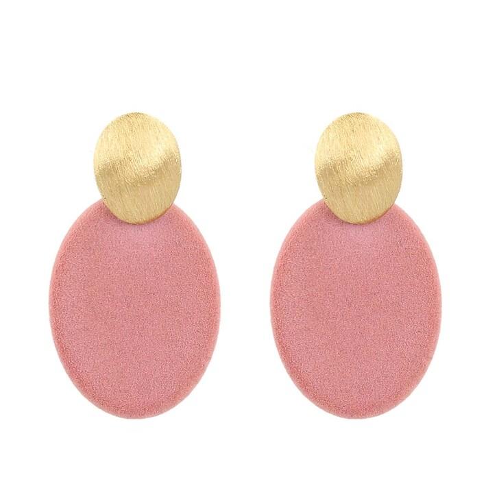Ohrring, LOTT.gioielli, Earrings Velvet Closed Oval Small Rosa Gold