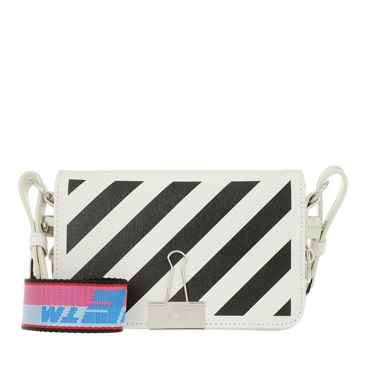 bags, Off-White, Diag Mini Flap Crossbody White Black