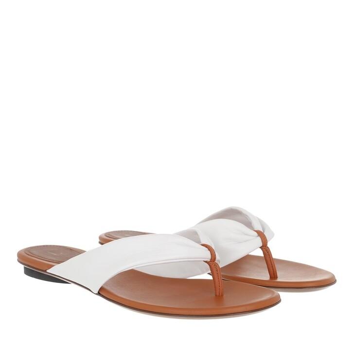 Schuh, L´Autre Chose, Flat Sandals Bicolor Lamb Leather White Rust