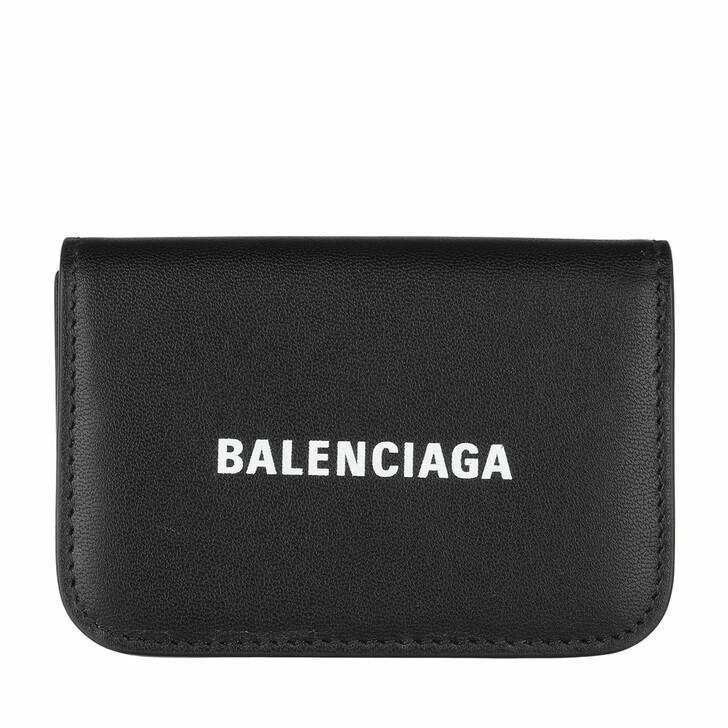 Geldbörse, Balenciaga, Continental Logo Wallet Black White