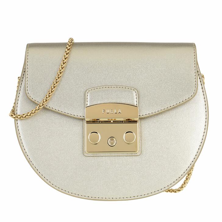 Handtasche, Furla, Metropolis Mini Crossbody Round Color Oro Light