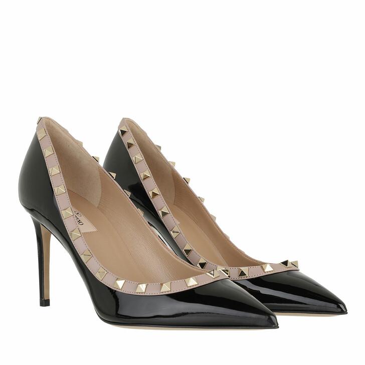 Schuh, Valentino Garavani, Rockstud Pumps Patent Leather Nero/Poudre