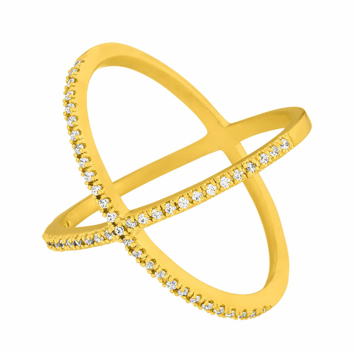 Ring, Leaf, Ring X Criss-Cross 18K Yellow Gold-Plated