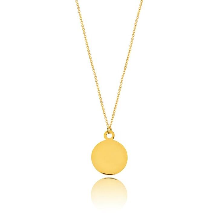 Kette, Leaf, Necklace Plate 14k Gold