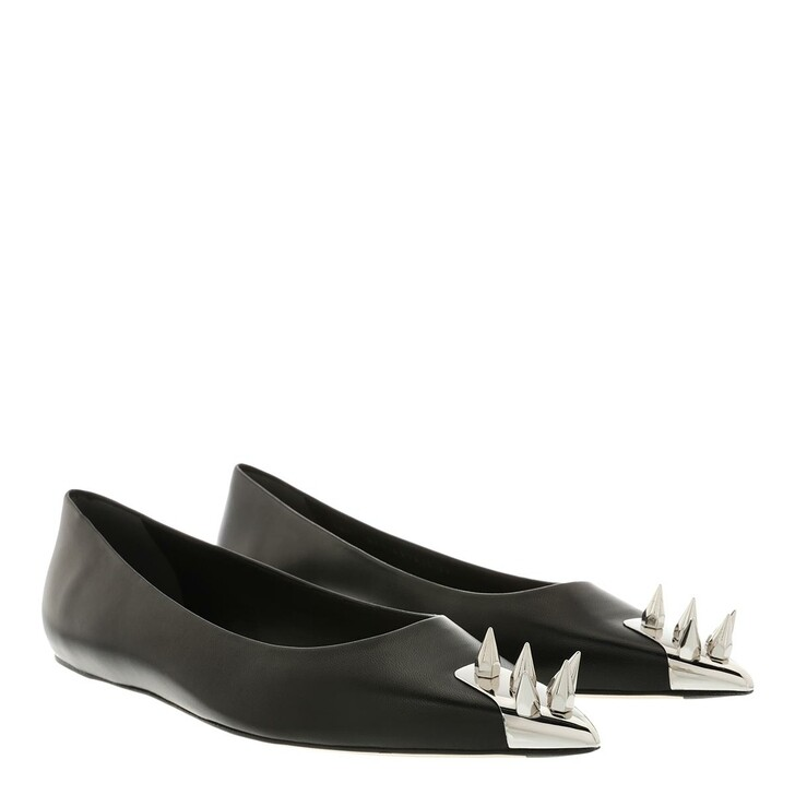 Schuh, Alexander McQueen, Flat Ballet Shoes Black/Silver
