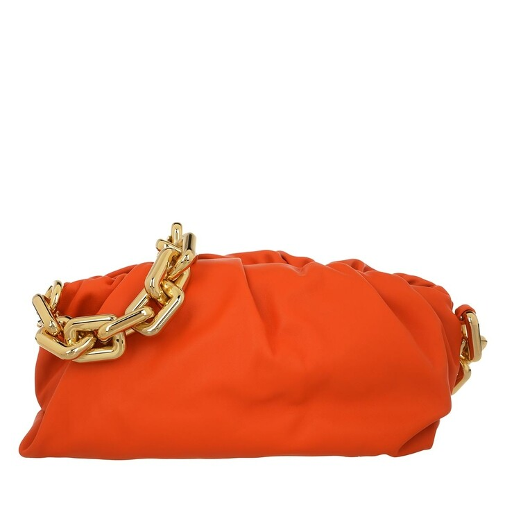 Handtasche, Bottega Veneta, The Chain Medium Pouch Leather Orange