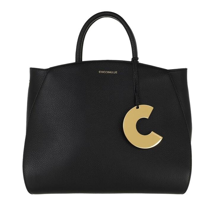 bags, Coccinelle, Concrete Handle Tote Bag Noir