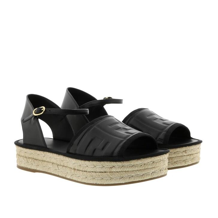 Schuh, Fendi, Platform Logo Sandals Black