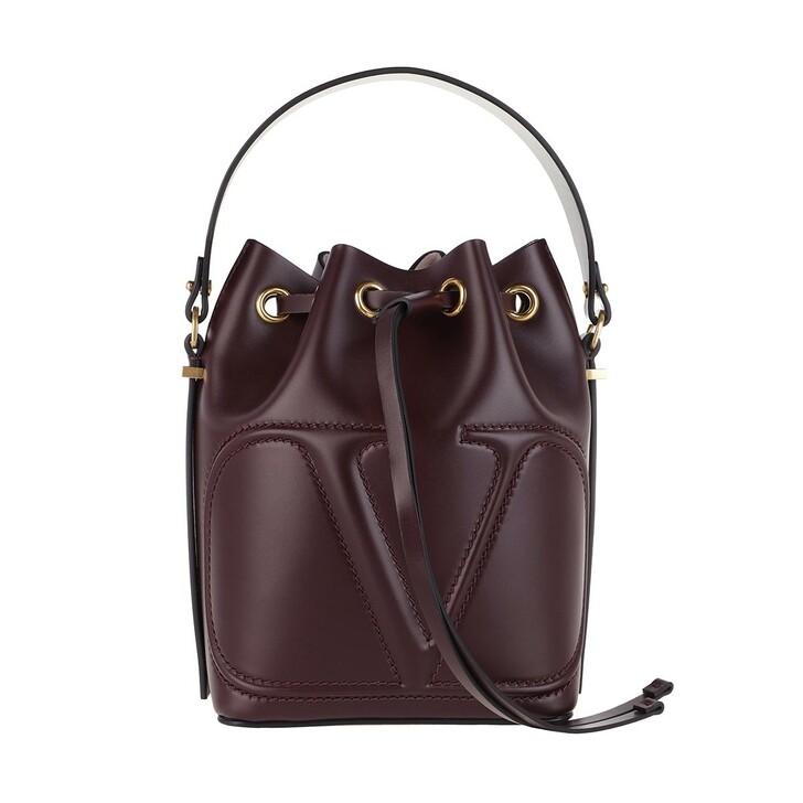 bags, Valentino Garavani, V Logo Bucket Bag Leather Rubin