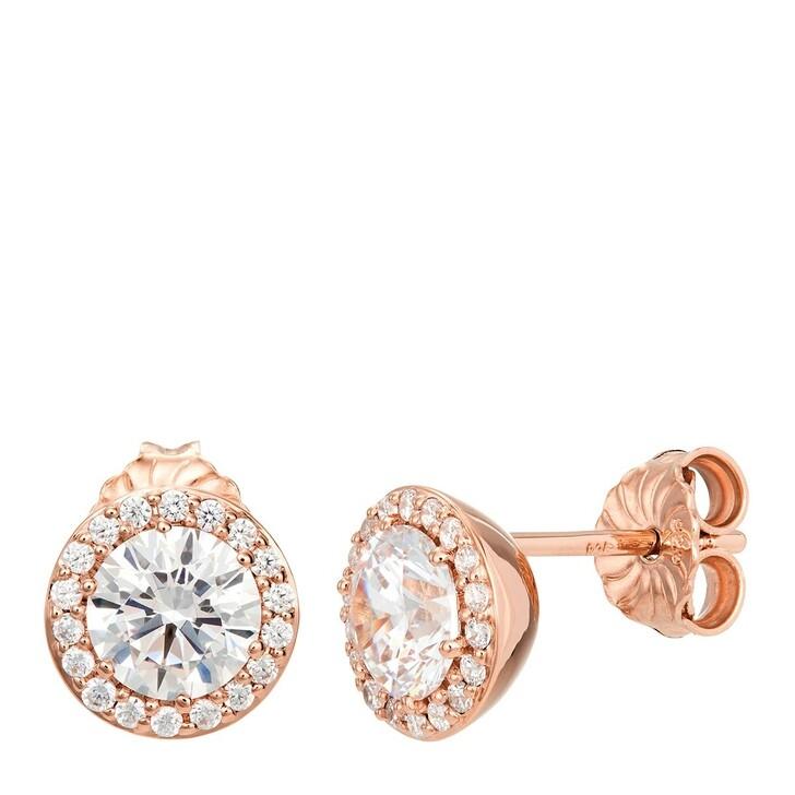 earrings, BELORO, Earring Stud Sparkling Zirconia Rose Gold