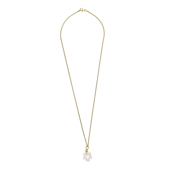 Kette, LLR Studios, Tiny Link X Pearl Hoop 45cm Necklace Gold